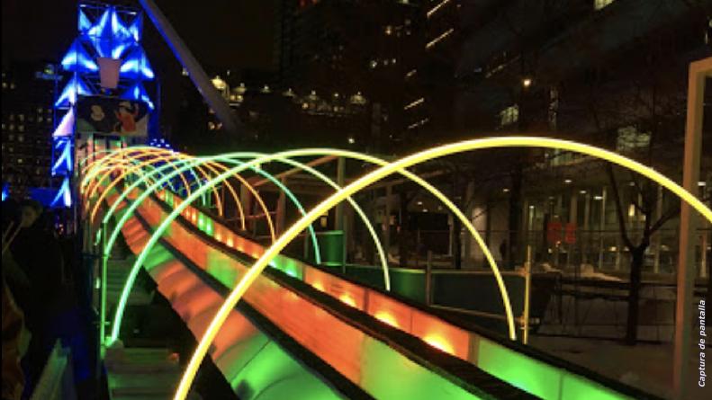 Inicia Montréal en Lumière con tobogán iluminado de 110 metros de altura