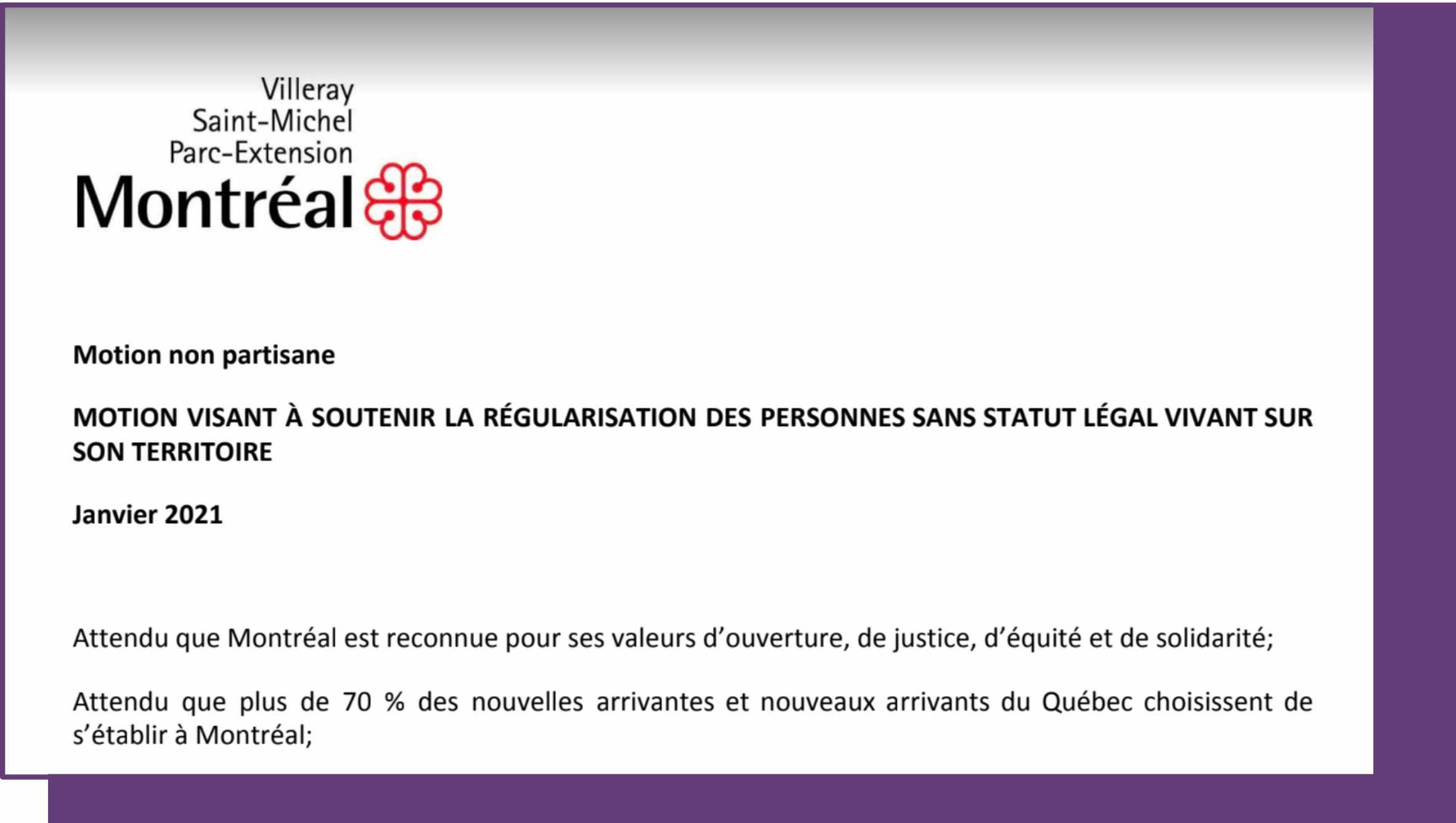 Montreal votará moción sobre personas sin papeles