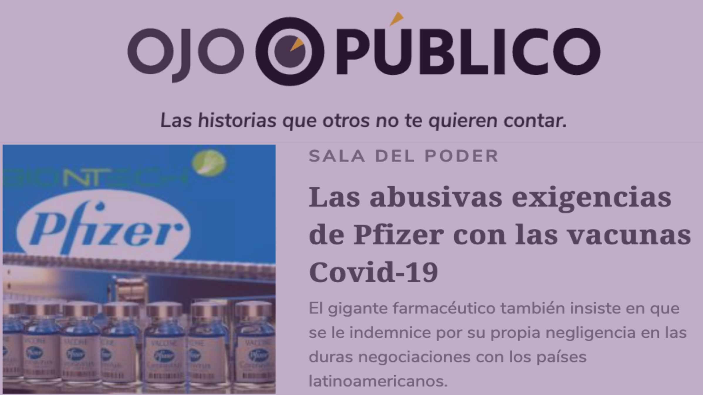 Abusiva venta de Pfizer a países latinoamericanos