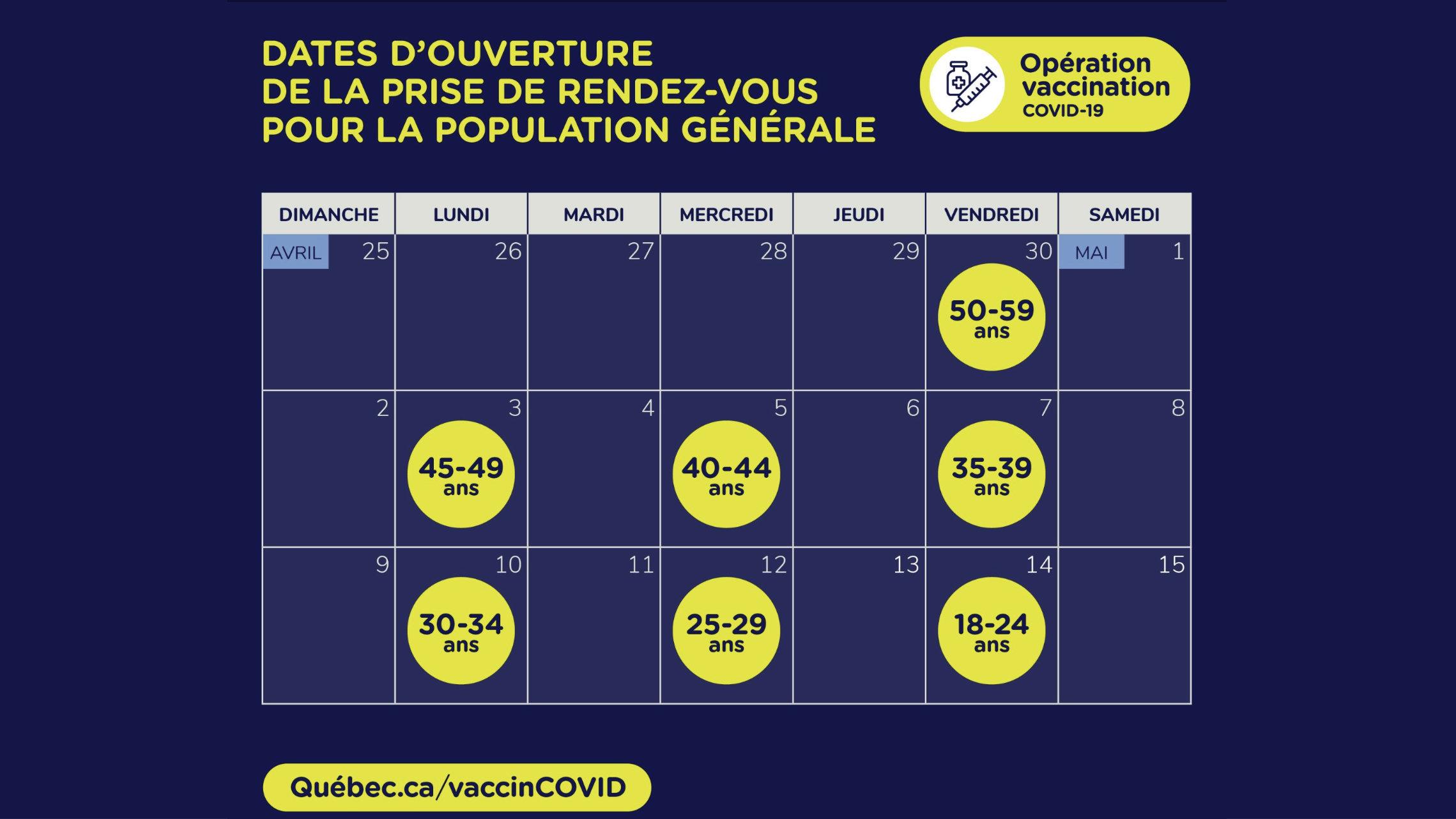 Quebec abre vacunación a la población en general