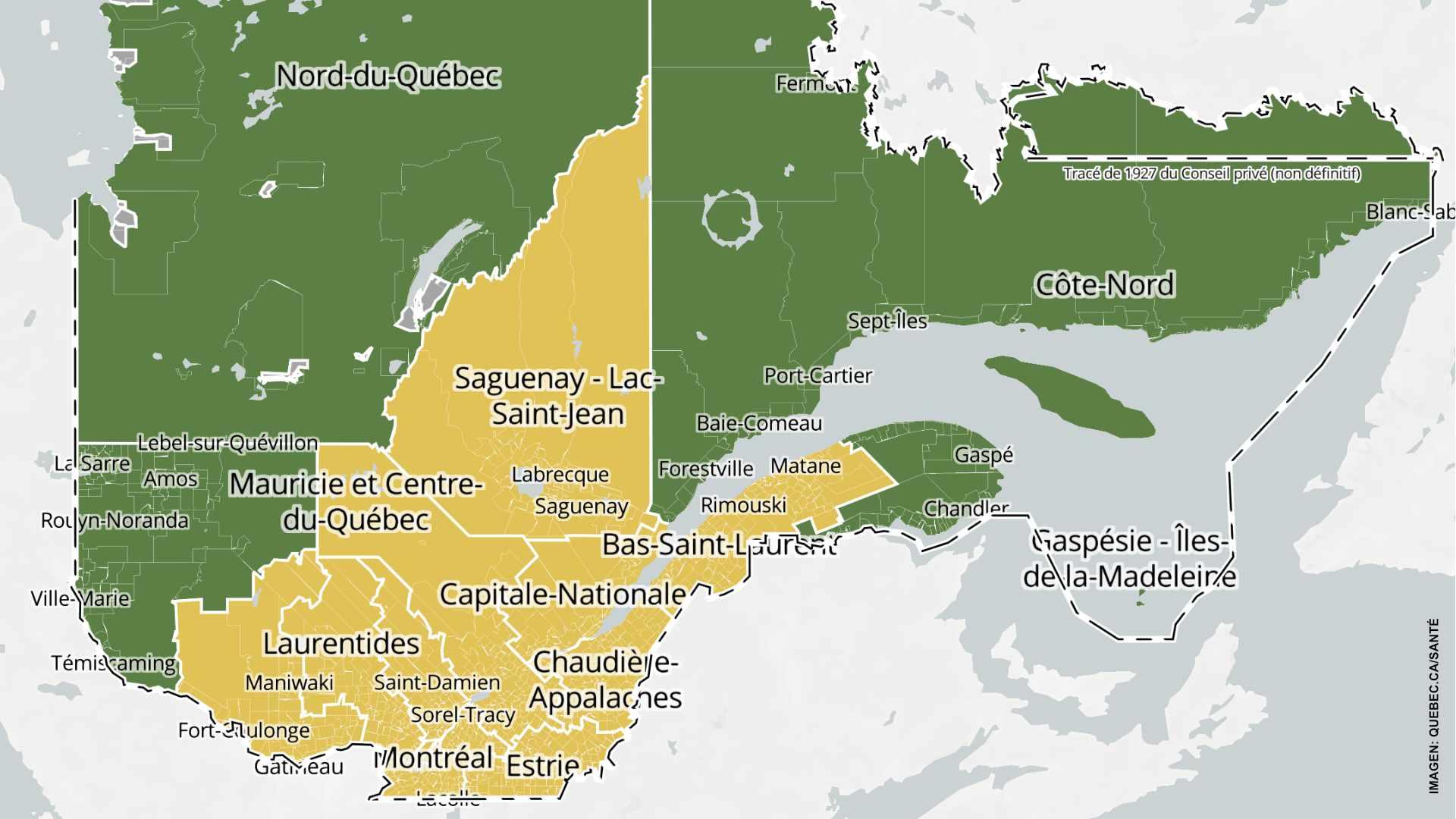 La mayoría de regiones de Quebec pasan a amarillo